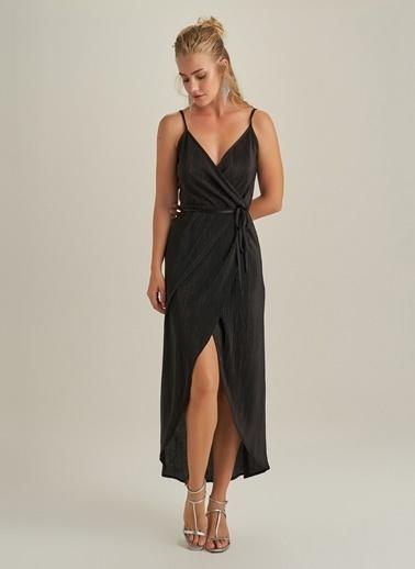 NGSTYLE Pliseli Askılı Elbise Siyah